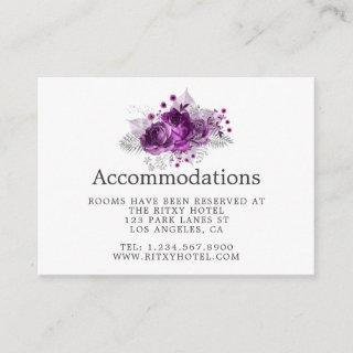 Plum and Navy Watercolor Wedding Accommodations Enclosure Card