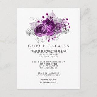 Plum and Navy Watercolor Wedding Guest Details Enclosure Card