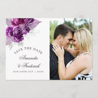 Plum and Navy Watercolor Wedding Save the Date