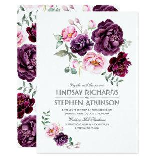 Plum Burgundy and Blush Floral Watercolor Wedding Invitations