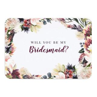 Plum Floral Will You Be My Bridesmaid Proposal Invitations