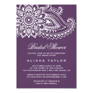 Plum Indian Paisley Bridal Shower Invitations