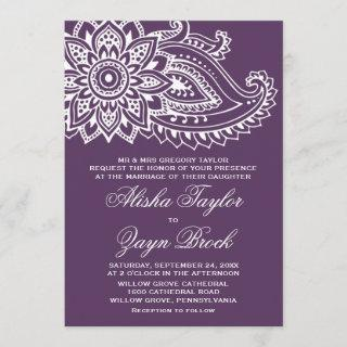 Plum Indian Paisley Formal Wedding Invitations