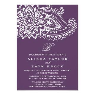 Plum Indian Paisley Wedding Invitation