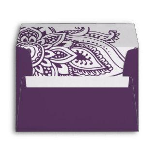 Plum Indian Paisley Wedding Invitation Envelope