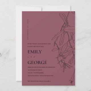 PLUM LINE DRAWING FLORAL WE TIED THE KNOT INVITE