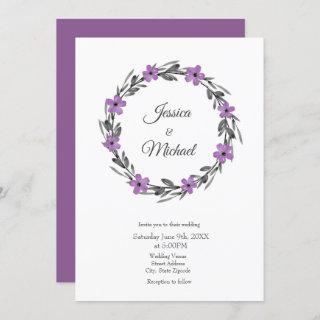 Plum Mauve Gray Black Watercolor Floral Wreath Invitation