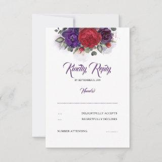 Plum Purple and Burgundy Red Floral Wedding RSVP