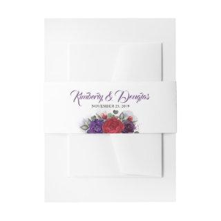 Plum Purple and Burgundy Red Florals Wedding Invitations Belly Band