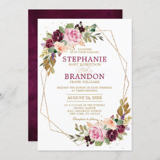 Plum Purple Blush Pink Geometric Floral Wedding Invitations