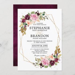 Plum Purple Blush Pink Geometric Floral Wedding Invitation