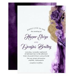 Plum Purple - Eggplant and Gold Floral Wedding Invitations