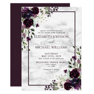 Plum Purple Flower Watercolor Marble Fall Wedding Invitations
