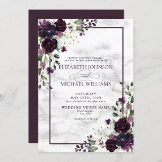 Plum Purple Flower Watercolor Marble Fall Wedding Invitation