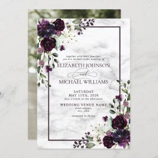 Plum Purple Flower Watercolor Marble Photo Wedding Invitation