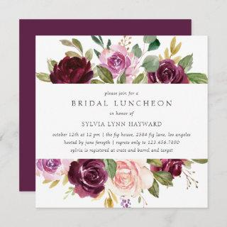 Plum Purple Flowers Fall Floral Bridal Luncheon