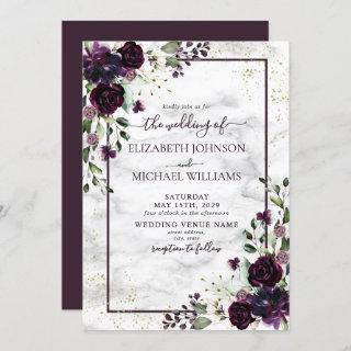 Plum Purple Gold Watercolor Marble Fall Wedding Invitation