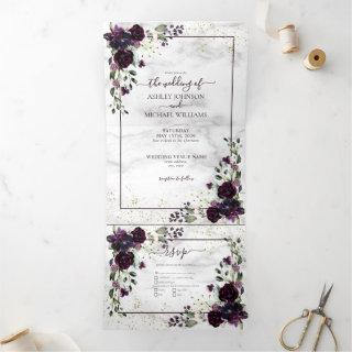 Plum Purple Gold Watercolor Marble Fall Wedding Tri-Fold Invitations