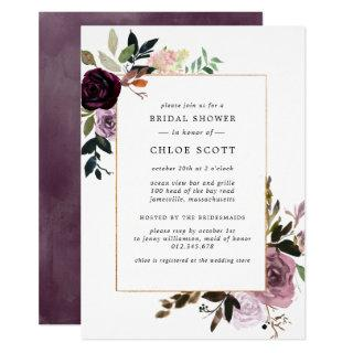 Plum Purple Mauve Pink Floral Bridal Shower Invitation