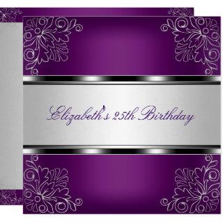 Plum Purple Silver Floral 25th Birthday Party Invitation