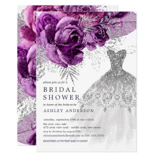Plum & Silver Floral Wedding Dress Bridal Shower Invitation