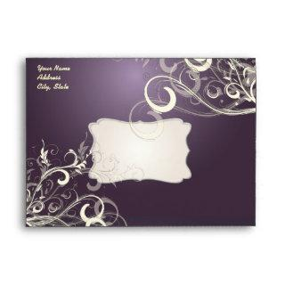Plum Vanilla Swirls, 5.25x7.25 Envelope