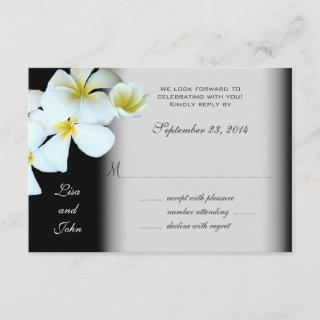 Plumeria on Black Wedding Invitations Reply Cards