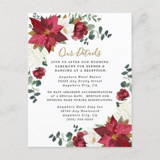 Poinsettia Elegant Red Gold White Floral Wedding Enclosure Card