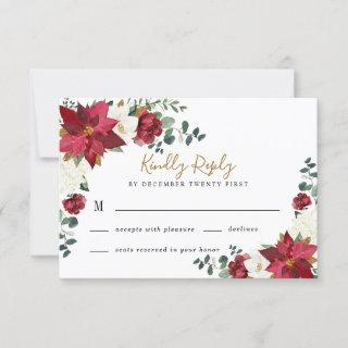 Poinsettia Elegant Red Gold White Floral Wedding RSVP Card
