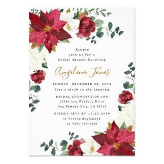 Poinsettia Elegant Winter Floral Red Bridal Shower Invitation