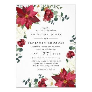 Poinsettia Red Winter Rustic Christmas Wedding Invitation