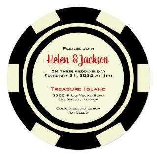 Poker Chip Black Off White Las Vegas Wedding Invitation