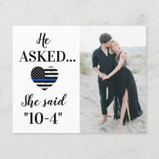 Police Law Enforcement Wedding Photo Save The Date