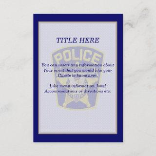 Policeman Wedding Insert Card