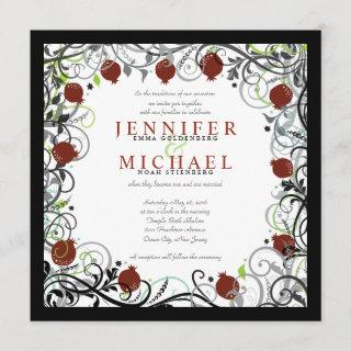 Pomegranate Jewish Wedding Invitation