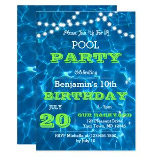 Pool Lights Green All Occasion Invitations