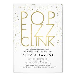 Pop Fizz Clink Bridal Shower Invitations, Faux Gold Invitations