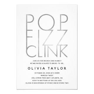 Pop Fizz Clink Bridal Shower Invitation, Silver Invitation