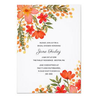 Pop of Red Floral Bridal Shower Invitations