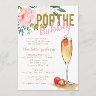 Pop The Bubbly Floral Bridal Shower Invitation