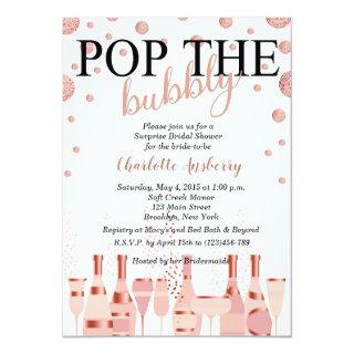 Pop the Bubbly Rose Gold Bridal Shower Invitation
