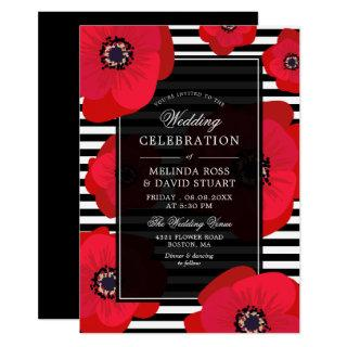 Poppies & Stripes - Black & Red Wedding Invitations