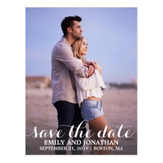 Portrait Photo Wedding Save The Date Postcard