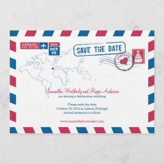 Portugal Air Mail Wedding Save The Date