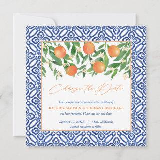 Positano Blue Tiles Sweet Oranges Change Of Plans Save The Date