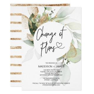Postponed Notes Eucalyptus Wedding Change of Plans Invitations