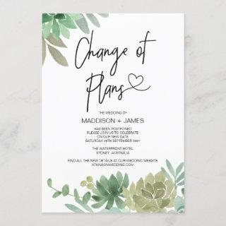 Postponed Notes Wedding Change of Plans Succulents Invitations