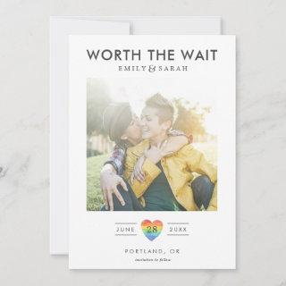 Postponed Wedding LGBTQ Save the Date with Photo