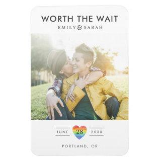 Postponed Wedding LGBTQ Save the Date with Photo Magnet