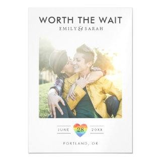 Postponed Wedding LGBTQ Save the Date with Photo Magnetic Invitation